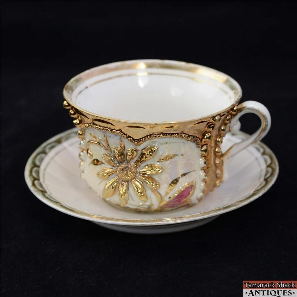 Gilded Tea Cup u0026 Saucer Set Textured Daisy Design Made in Germany Marked Base & Gilded Tea Cup u0026 Saucer Set Textured Daisy Design Made in Germany ...