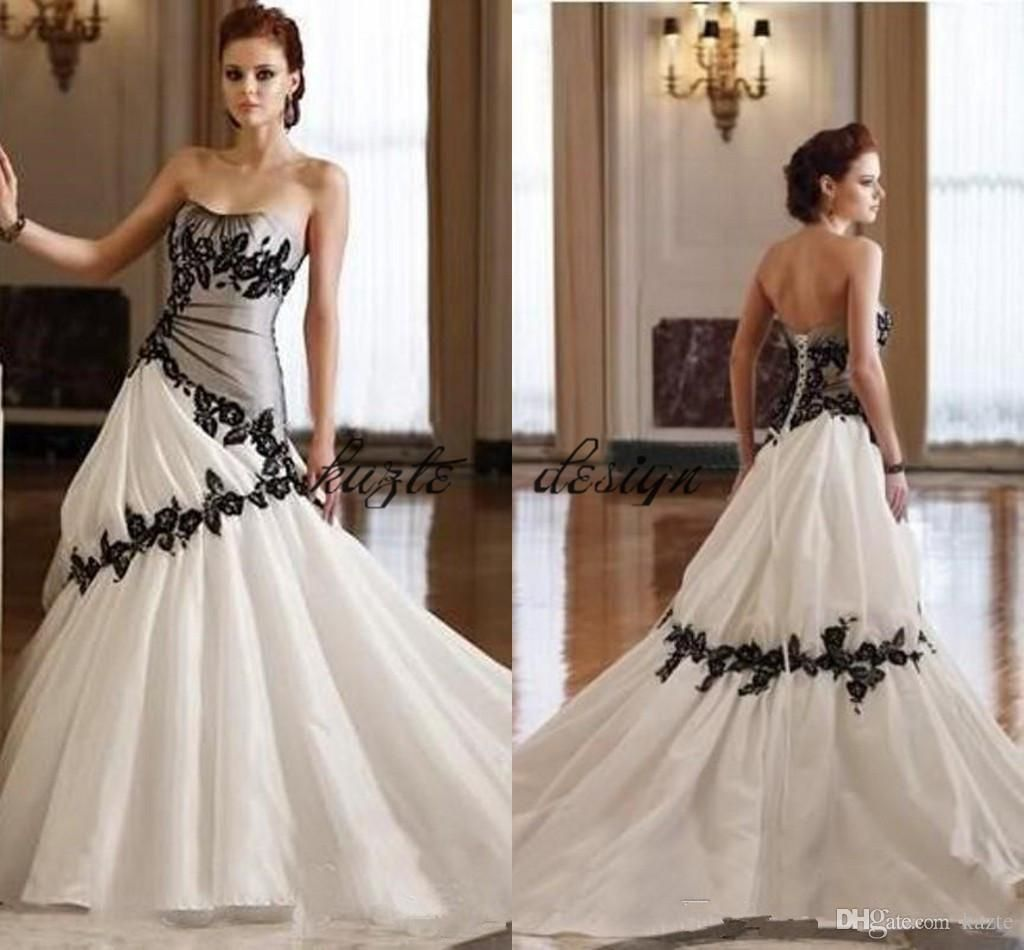 Vintage Gothic Country Wedding Dress Strapless Soft Sweetheart