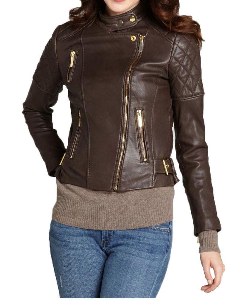 Ladies lambskin leather motorcycle jacket