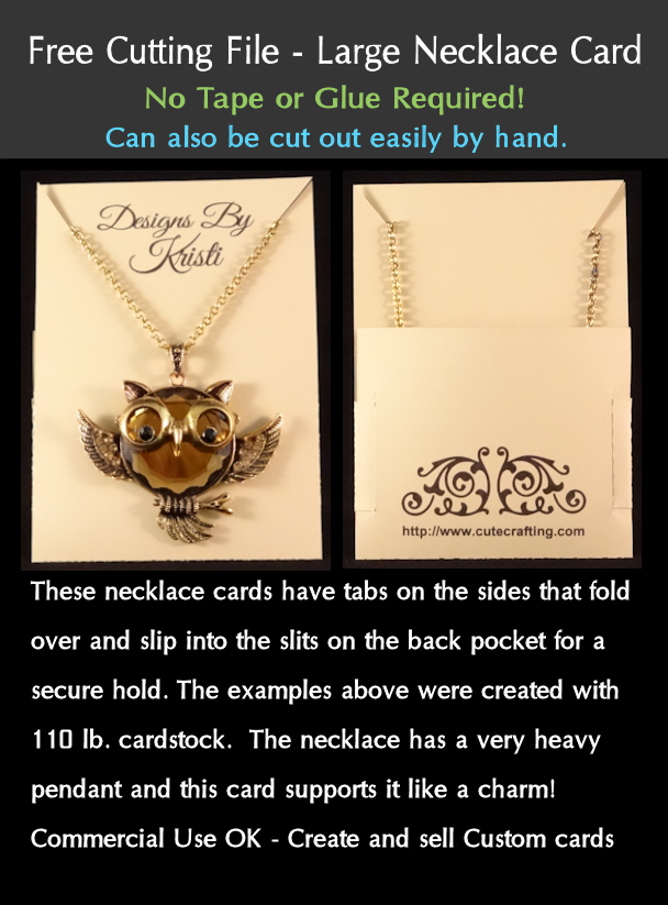 File Cards 10 Heart Svg: Free Cutting File DIY Necklace Card With Pocket