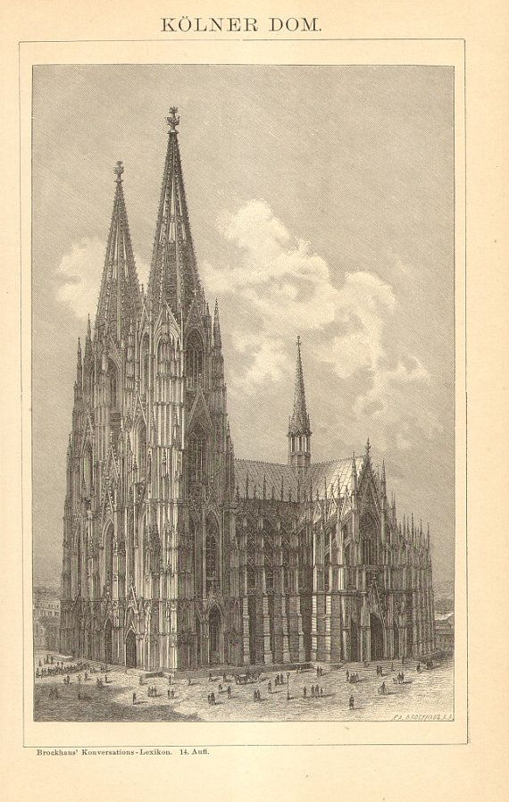 1896 Cologne Cathedral Hohe Domkirche St By Cabinetoftreasures Architectural Prints Cathedral Cologne Cathedral