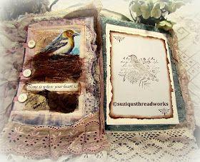 Bird Fabric Collage Book as a Thankyou Gift #birdfabric