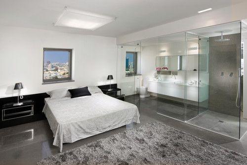 bedroom with bathroom interior design ideas modern white color - Modern  Bedroom With Bathroom Design Ideas