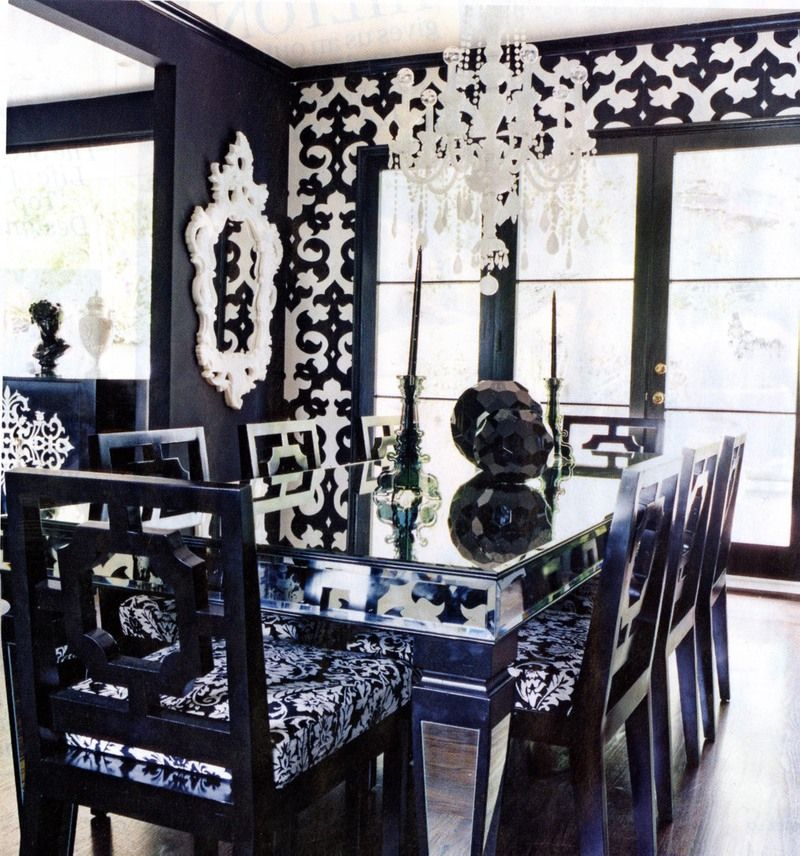 Nicky Hilton Hollywood Regency Black And White Dining Room Glamorous Dining Room Suit Design Ideas
