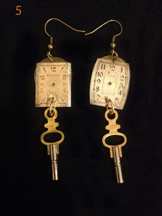 Steam/Diesel Punk handmade earrings using authentic vintage watch pieces. on Etsy, $20.00
