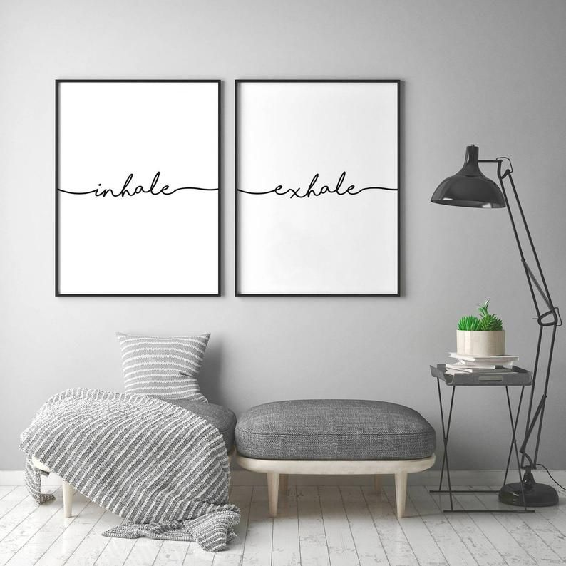 Inhale Exhale Print, Motivational Poster, Pilates Art, Yoga Wall Art, Breathe Print, Inhale Exhale, Relaxation Wall Art, Set of 2 Yoga Print