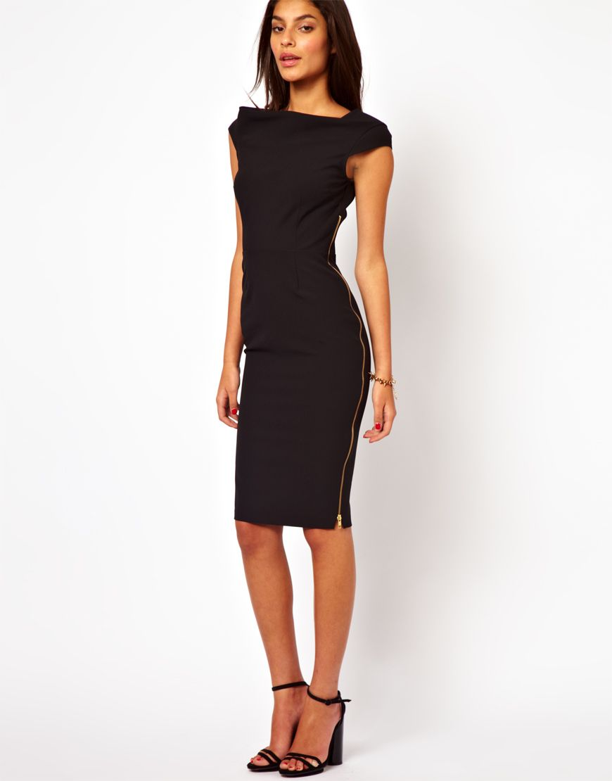 Asos midi dress black with gold exposed zipper clothes pinterest