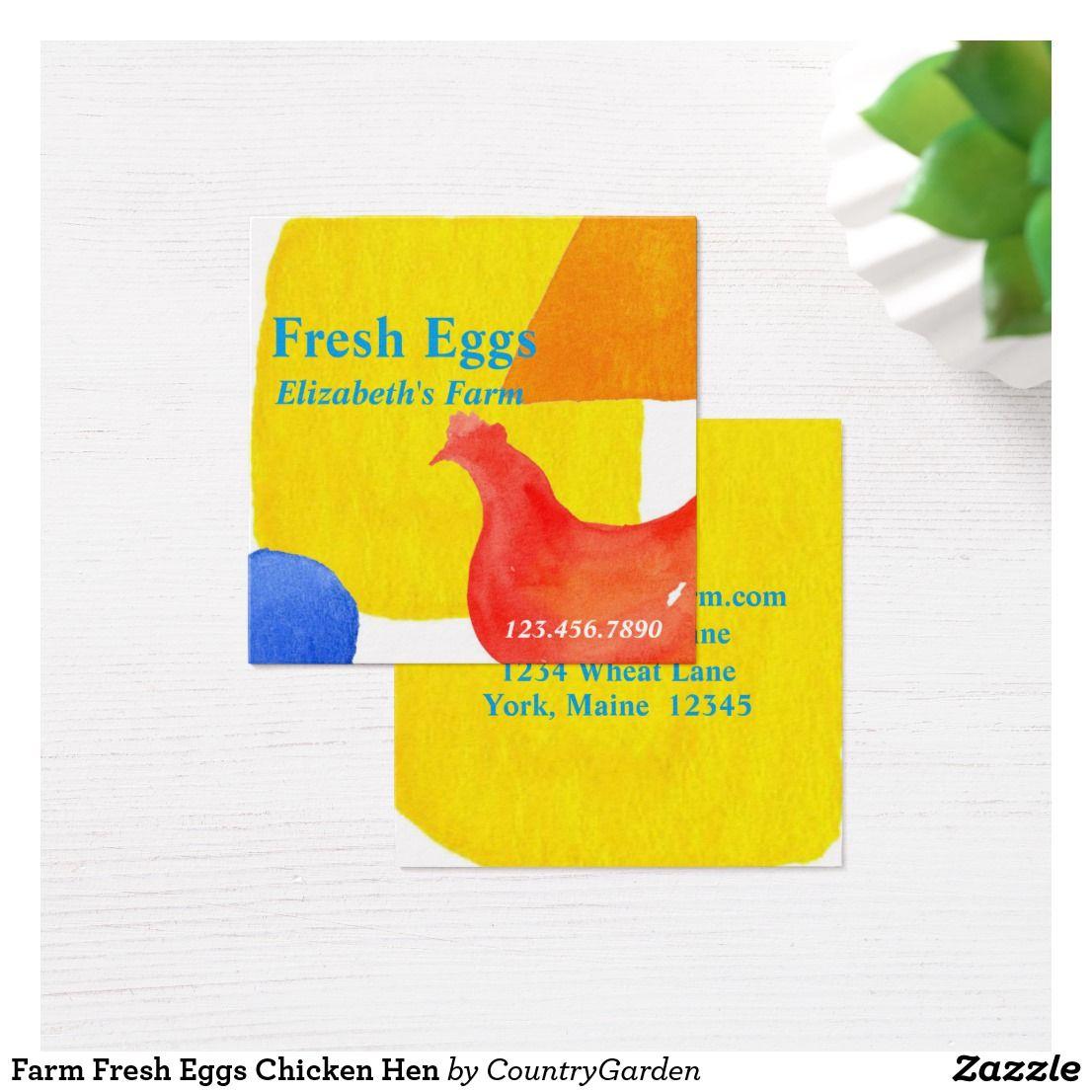 Farm fresh eggs chicken hen square business card zazzle