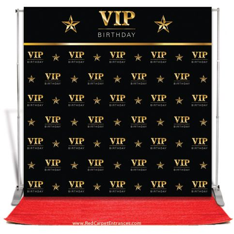 Vip Birthday Backdrop Black 8x8 Hollywood Birthday