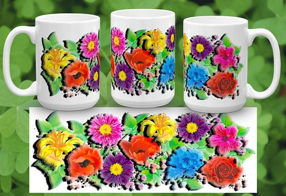 Bright Beautiful Flowers That Actually Have A Grunge And 3 D Effect. Cup  Is. Coffee CupsCoffee ...
