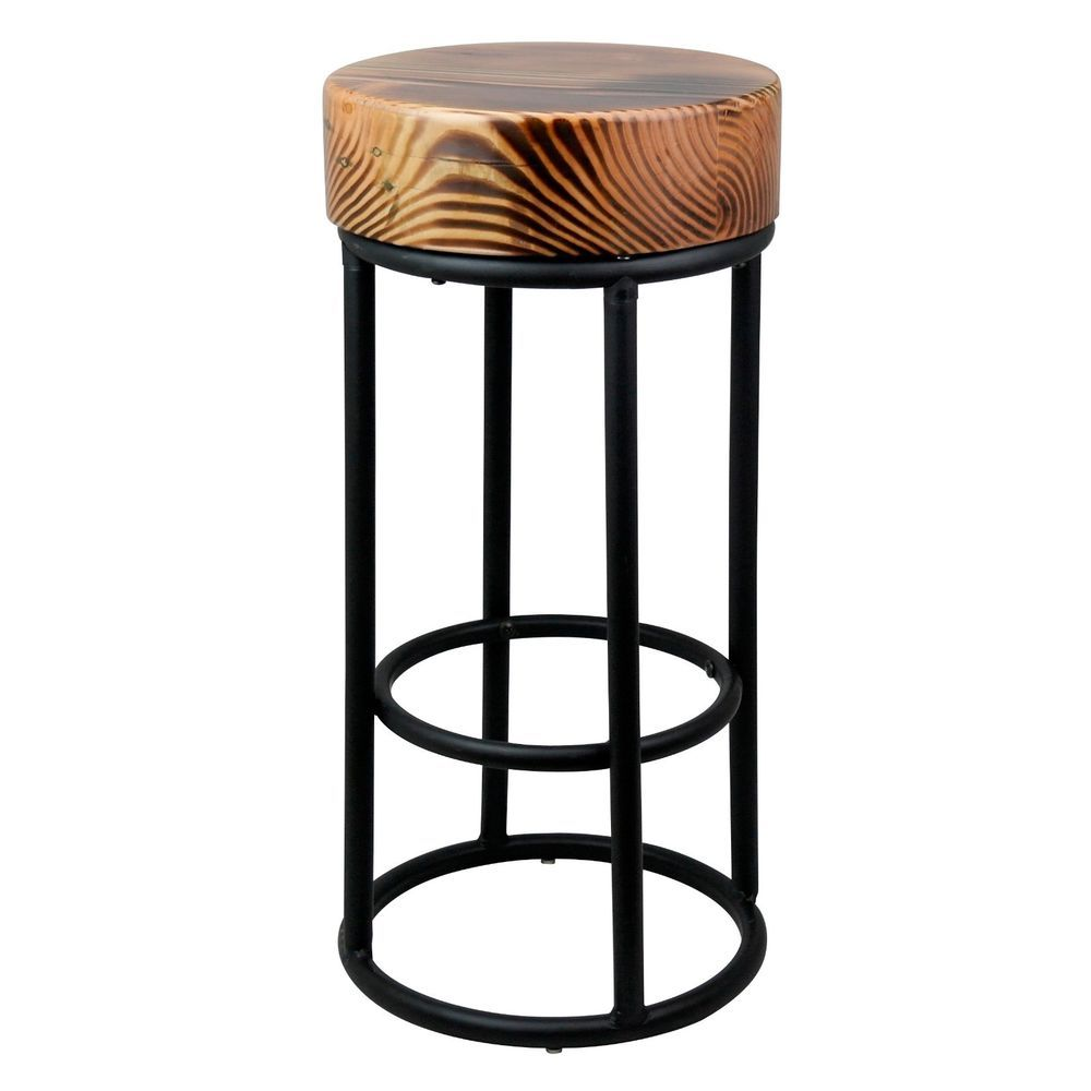 Amazing Details About 68Cm Industrial Metal Black Bar Stool Chunky Ibusinesslaw Wood Chair Design Ideas Ibusinesslaworg