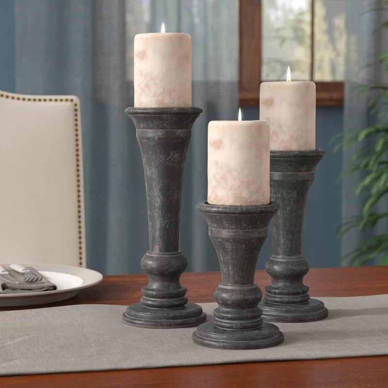3 Piece Wood Tabletop Candlestick Set In 2020 Wood Candle Sticks Candlesticks Candle Holders