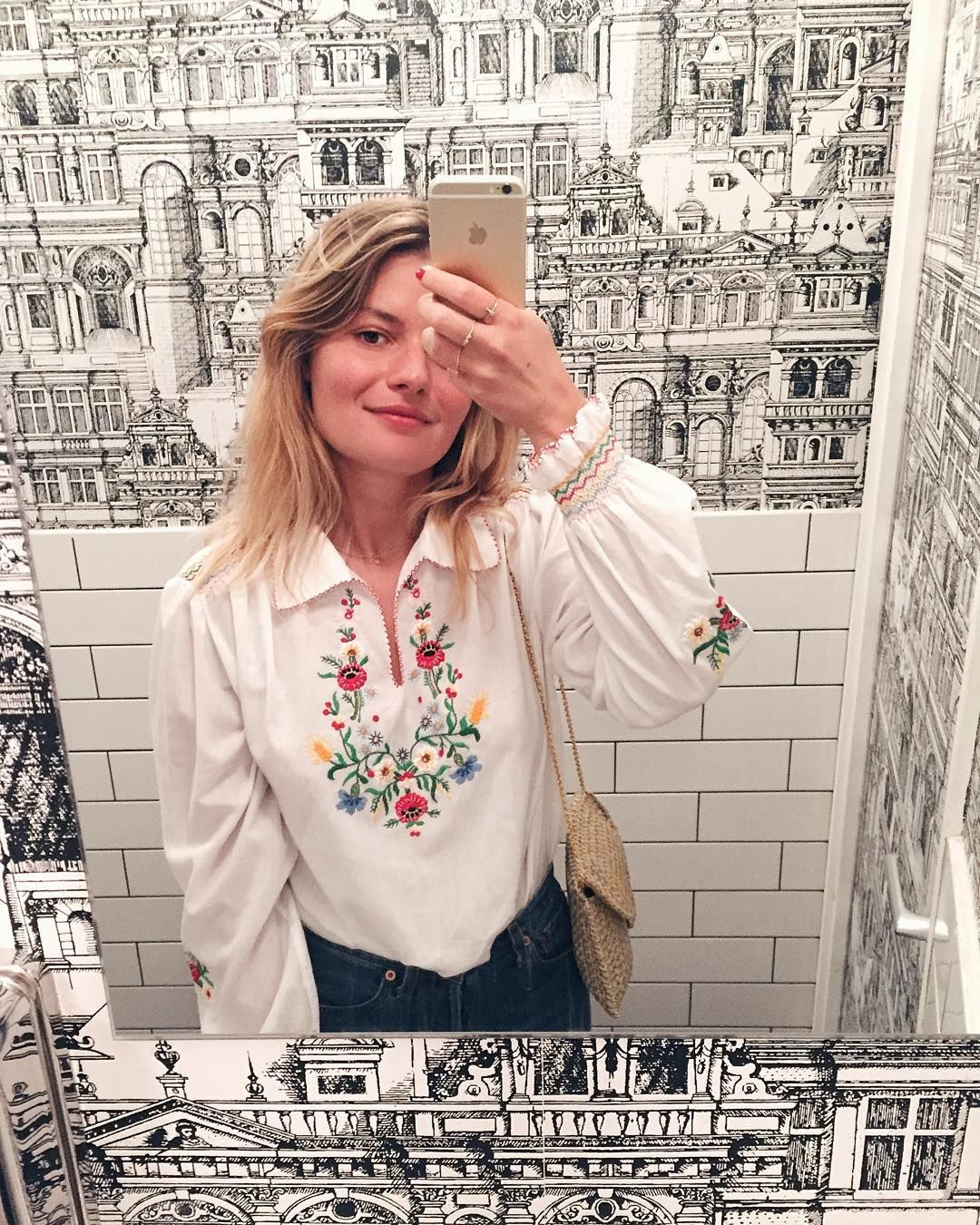 "1,110 Likes, 22 Comments - Sabina Socol (@sabinasocol) on Instagram: ""Doing my best to master the bathroom selfie game (and the peasant blouse game 🌺)"""