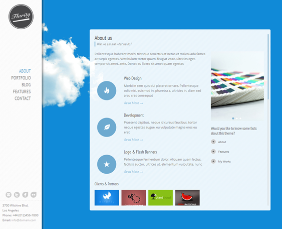 Blog Website Templates This Responsive One Page Template Features Vertical Primary