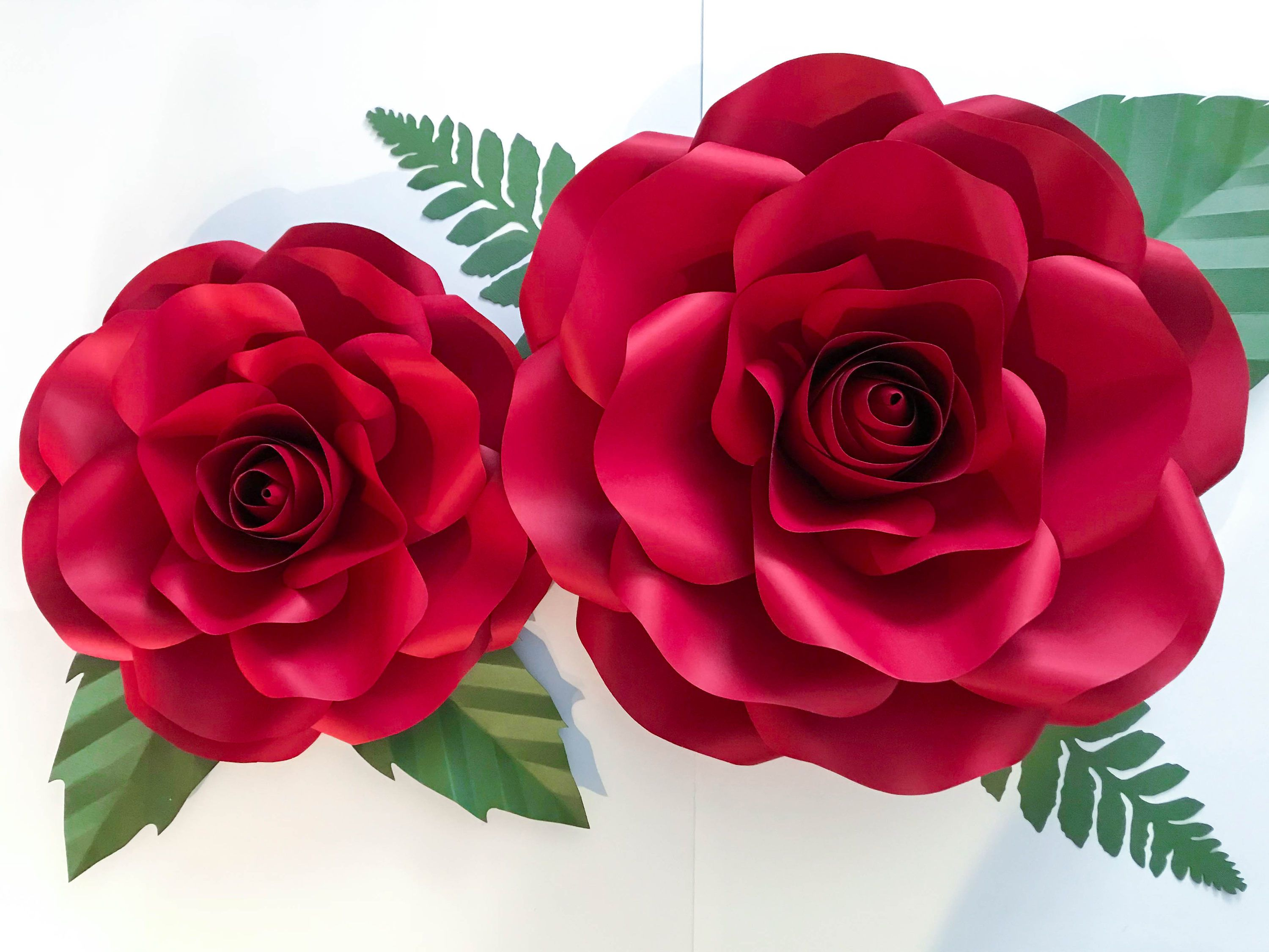 Svg Combo Of Large And Medium Rose Paper Flower Template Diy Cricut