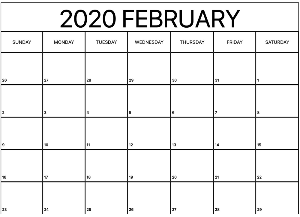 Printable February Calendar for 2020 – Waterproof Paper | 12 Month