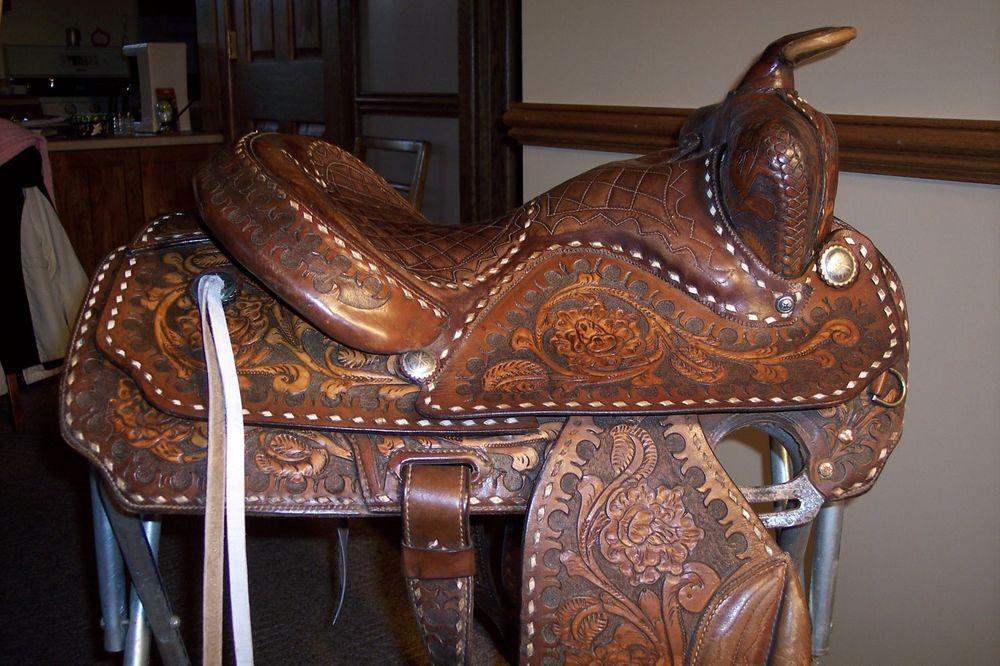 "Hereford brand tex tan yoakum saddle 14.5"" seat."