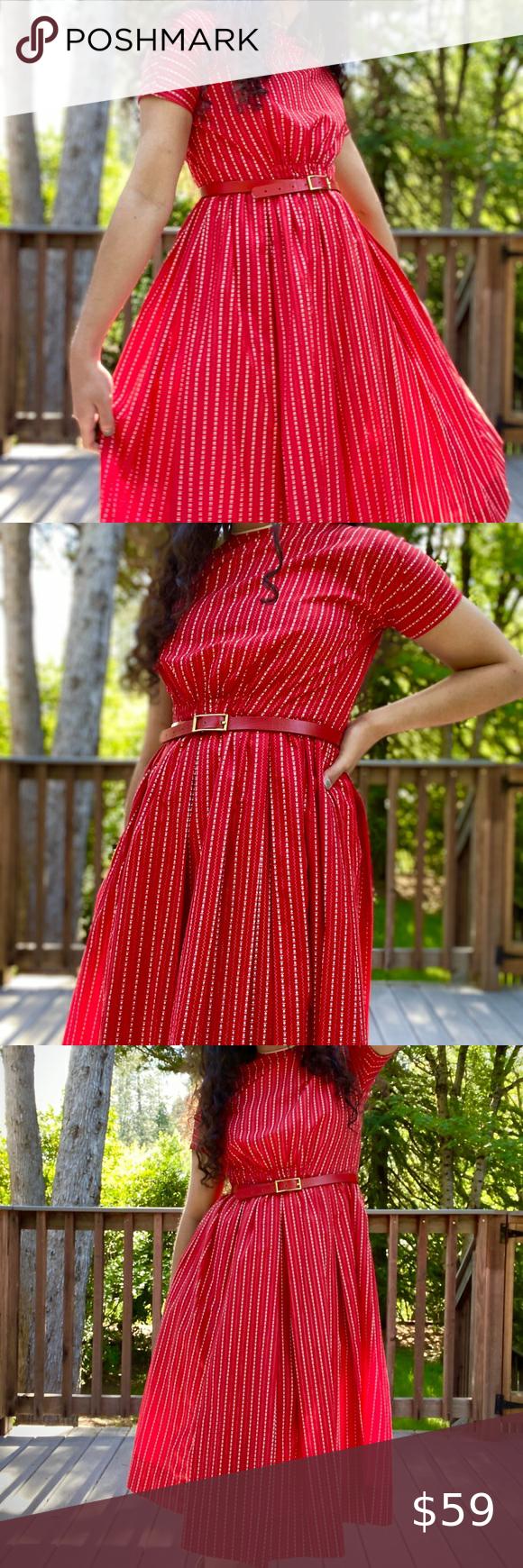 1950s Vintage Red Dress Vintage Red Dress Red Dress Dresses [ 1740 x 580 Pixel ]