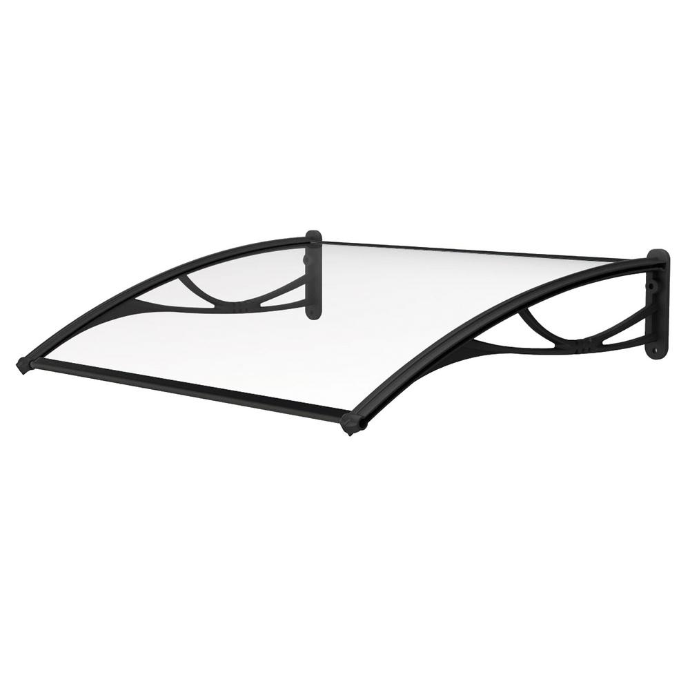 Advaning PN Series Solid Polycarbonate Sheet Door Awning Black Bracket (55 in. W x 31 in. D), Clear