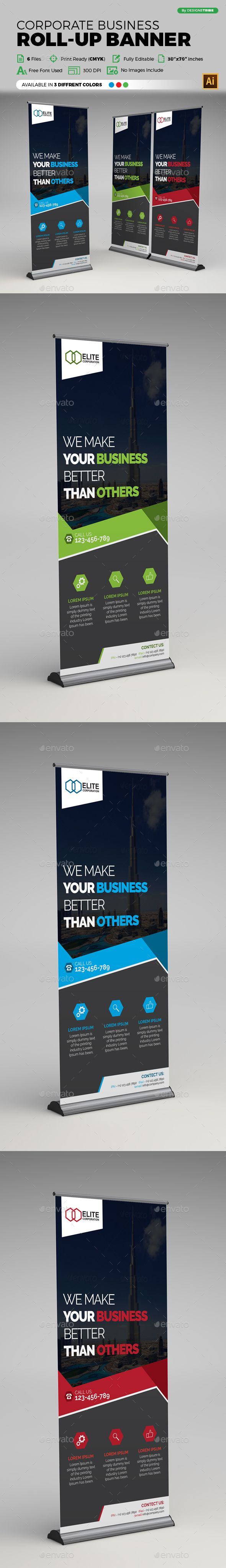 Corporate Business Roll-up Banner Design Template - Signage Print Templates Vect...