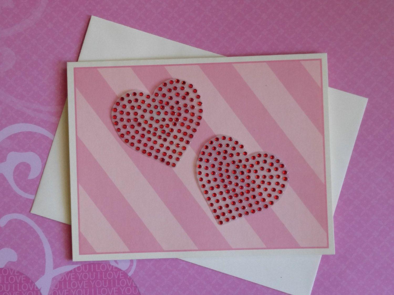 Greeting Card Rhinestone Decal Rhinestone Hearts Greeting Card