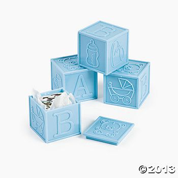 Blue Block Favors #babyshower