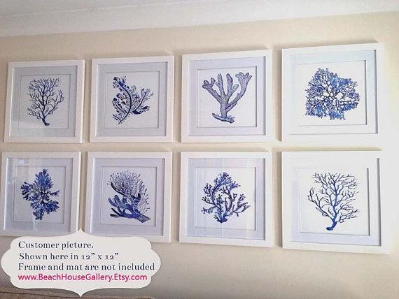 Indigo Blue Coral Prints, Blue Sea Coral Print Set of Eight