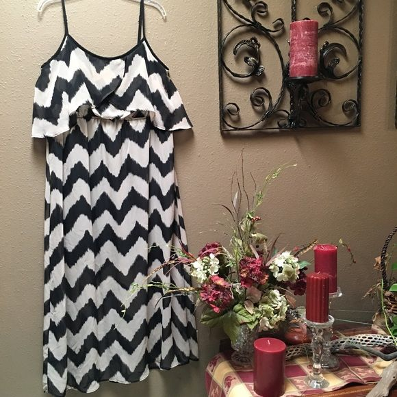 Chevron Maxi Sundress Chevron Maxi Dress in the colors of beige and black. Straps are adjustable. One button closure in back, but can easily be slipped on without unbuttoning. Black rayon slip underlay that begins at top of bodice and flows down to knee length, as the sheer overlay continues to floor length. Worn one time to wedding (then I gained too much weight to wear again....ssshhhhh! lol). No Boundaries Dresses Maxi