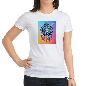 "My design of an Indian dream catcher that has a dove in the center and says ""I dream of peace"" around the circle -  Jr. Jersey T-Shirt.  Lots more products too."