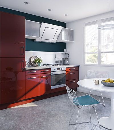 L\u0027élégance des façades arrondies et la modernité du rouge laqué - Photo Cuisine Rouge Et Grise