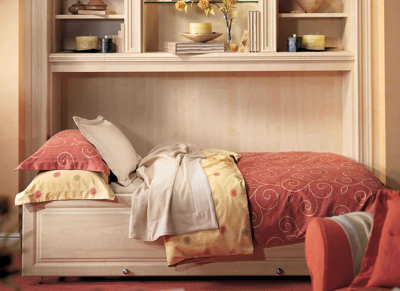 Fitted Side Fold Down Wall Bed in Light Wood Finish (With