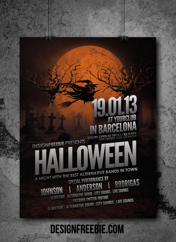 Awesome Halloween Party Flyer Design Template Design Pinterest