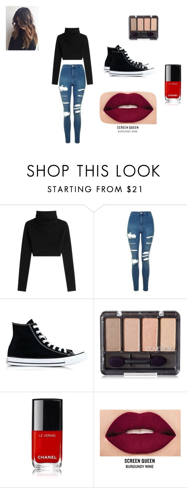 """""""out in the city"""" by chocolate-lover101 ❤ liked on Polyvore featuring Valentino, Topshop, Converse and Smashbox"""
