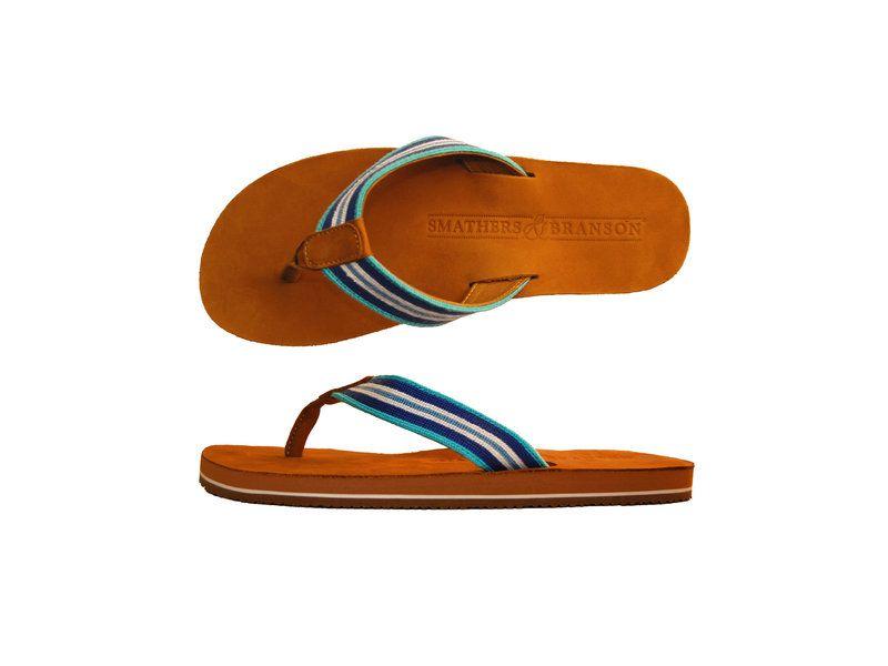 c2bd0e03c Surfer Stripe Aqua Needlepoint Flip Flops