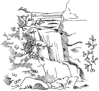 to Draw a Waterfall in 4 Steps A waterfall is a sight not easily forgotten. This landscape is no different -- and you can draw it in only four steps. Learn how.A waterfall is a sight not easily forgotten. This landscape is no different -- and you can draw it in only four steps. Learn how.
