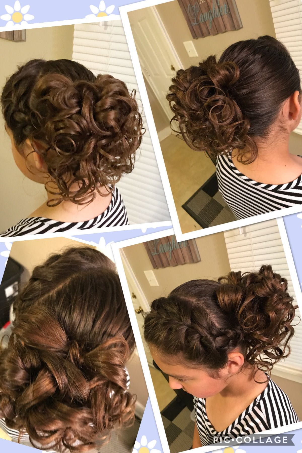A braid with a curly bun and a bow on top apostolic pentecostal