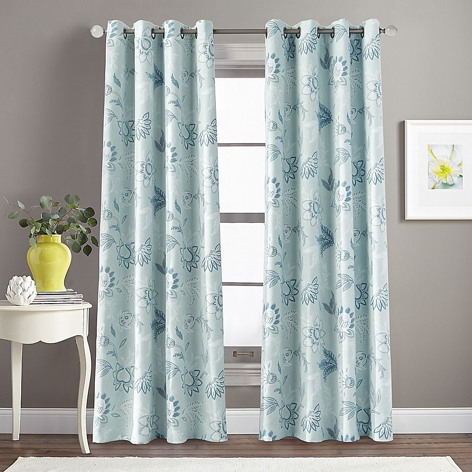 Morela Print 108 Grommet Window Curtain Panel In Aqua Panel