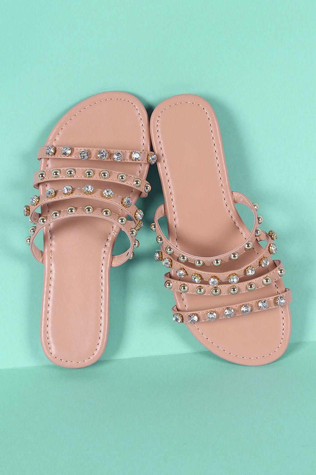 1112261dc9022f Studs And Jewels Slide Sandal