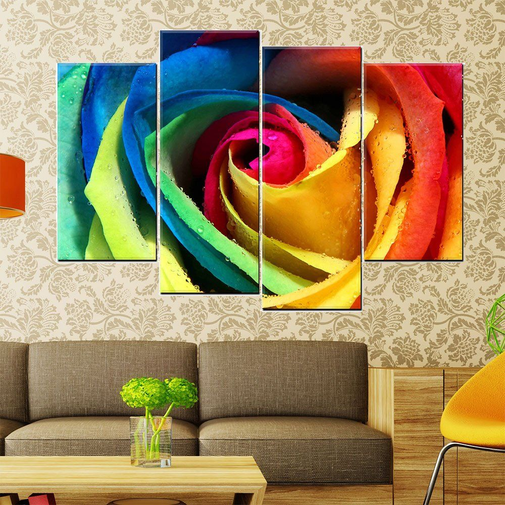 4 piece modern abstract canvas painting wall art colorful rose