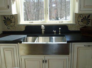 Black Concrete Countertop With Undermount Farm Sink