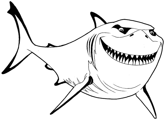 how to draw bruce from finding nemo with simple steps lesson how to draw step - Finding Nemo Characters Coloring Pages