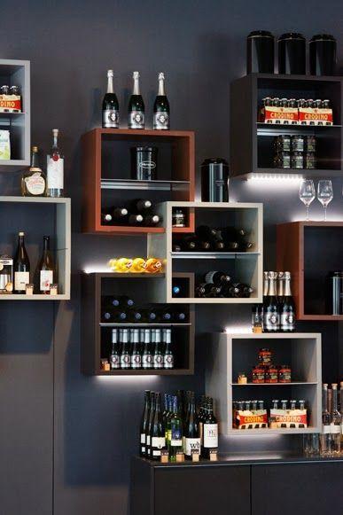 Gorgeous Minimalist Wine Wall Display Decoracao De Bar Decoracao De Bar Rustico Decoracao Cozinha Integrada