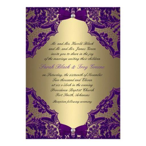 Purple And Gold Wedding Invitation Zazzle Com Gold Wedding