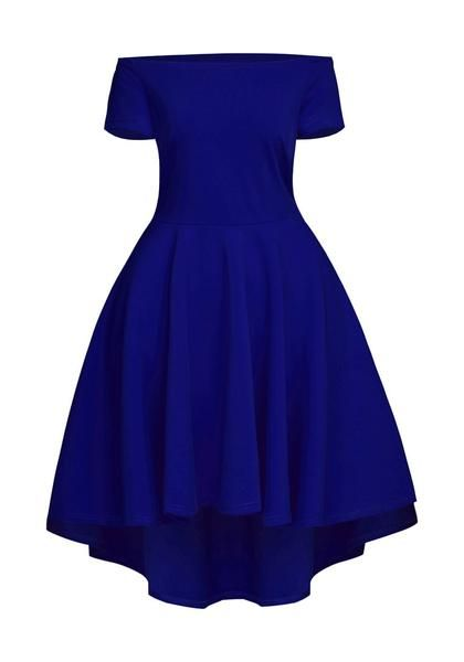 ee10c210f8a8 Feel your most beautiful with this blue off-shoulder high-low skater dress.