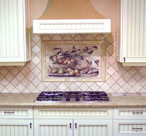 Cynara backsplash in a simple kitchen paired with diagonal backsplash tiles.