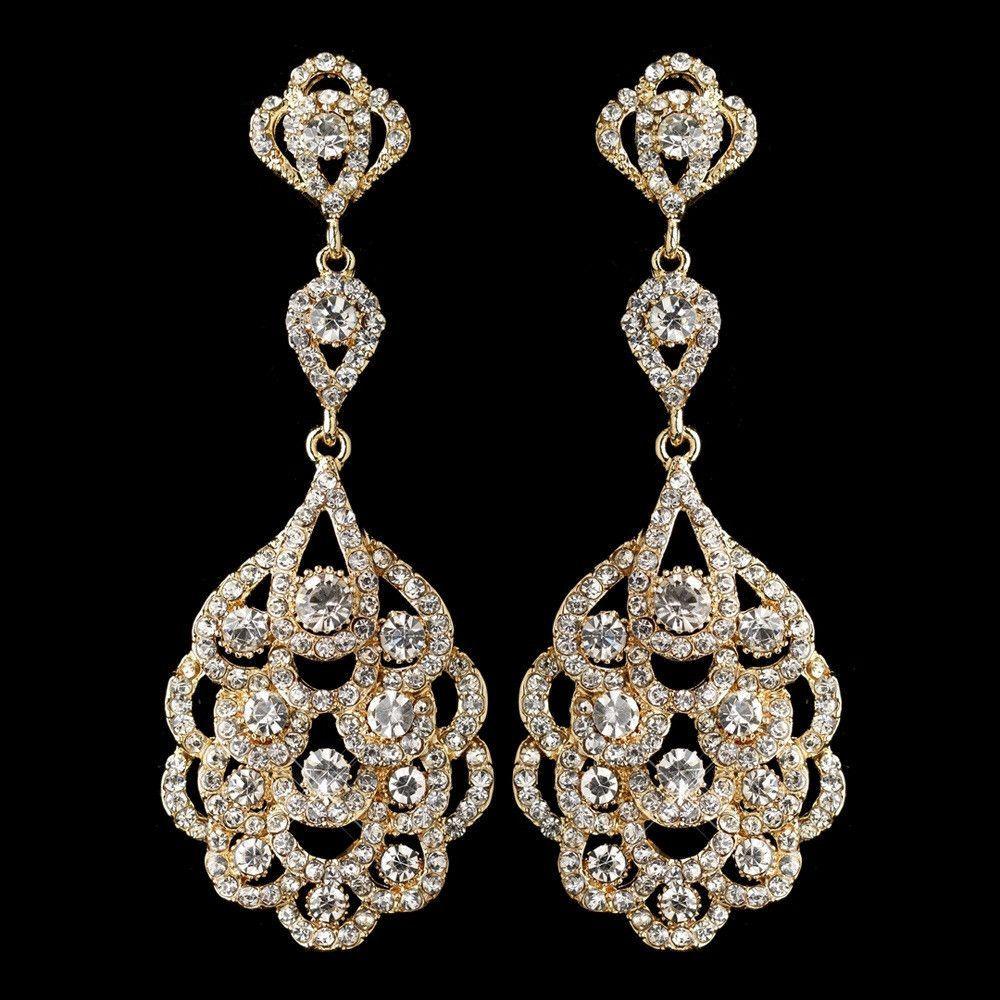 Light gold clear rhinestone chandelier earrings plate design light gold clear rhinestone chandelier earrings arubaitofo Images