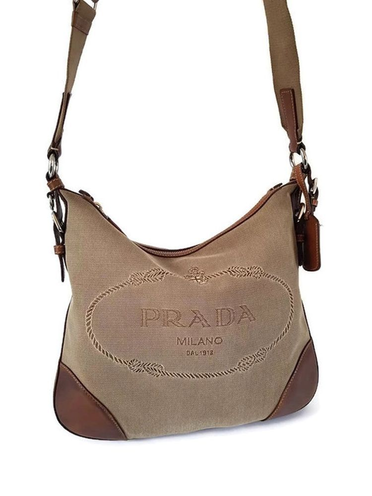 24369b606b07 Prada men woman unisex Brown Logo Jacquard Leather Messenger shoulder Bag   PRADA  ShoulderBag