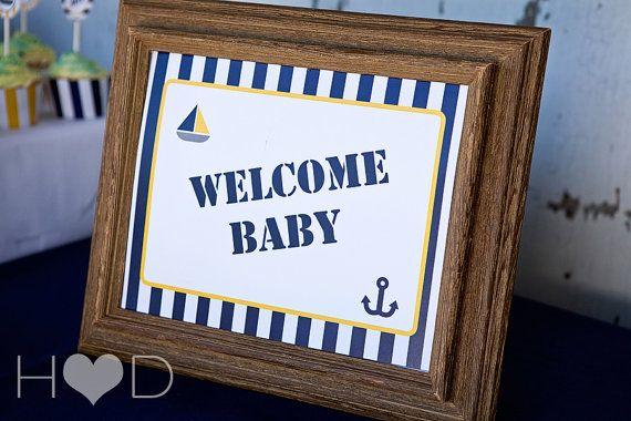 Blue and Gold Nautical Party Sign Printable PDF by SOSPrintables
