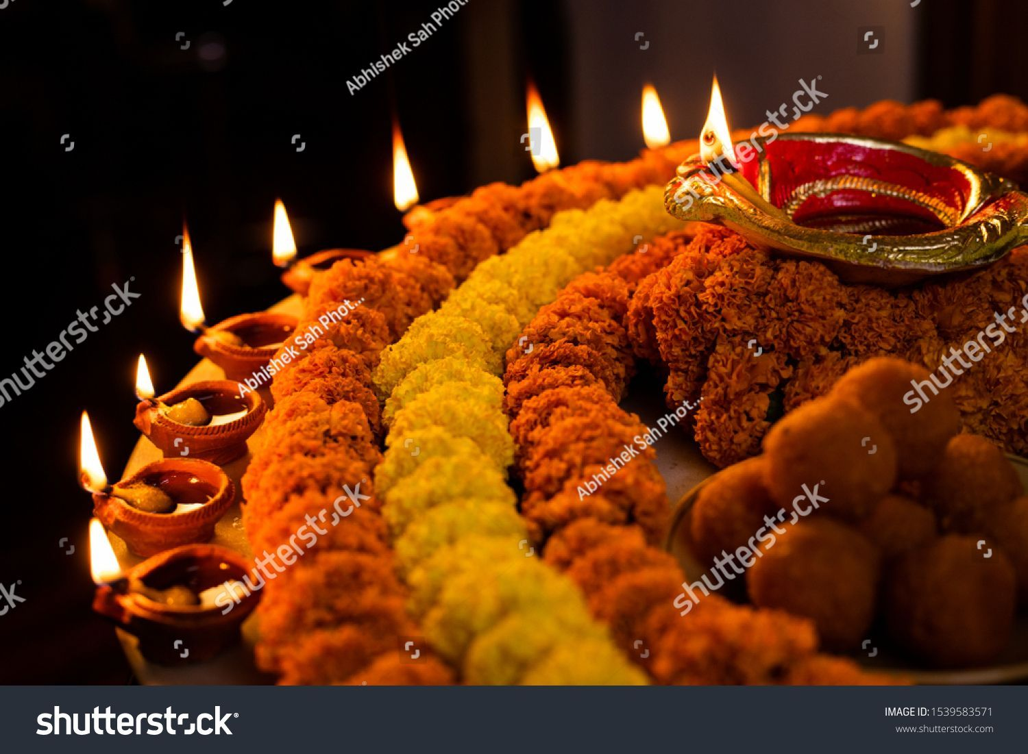 Happy Diwali Clay Diya Lamps Lit Stock Photo Edit Now 1539583571 In 2020