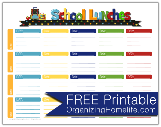 Adorable Planner For Lunch Box Packing  Free Printables